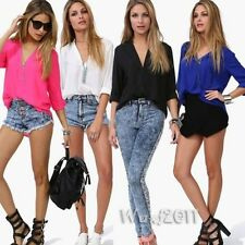New Arrivals Women Roll Up Sleeve Casual V-Neck Chiffon Shirt Tops Loose Blouse