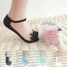 NEW Women's Combed Cotton Stockings Crystal Transparent Lace Invisible Socks