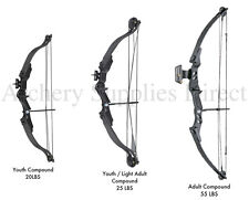 New Right Handed Black Archery Compound Bow Set 20, 25 or 55 lbs Child - Adult