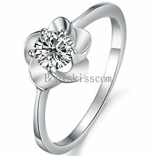 Silver Tone Blossom Flower Cluster Bride Ring Engagement Wedding Ring Size 5 - 8