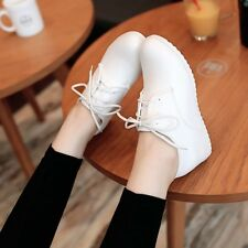 Womens Punk Lace Up Hidden Wedge Heel Oxfords Casual Work Sneaker Trainer Shoes