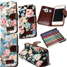 FL Retro Flower Leather Cloth Card Holder Stand Case Cover for Various Phone