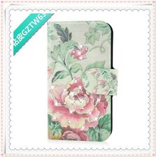 2014 new diamond pink flower green leaf flip PU leather case cover for Lenovo