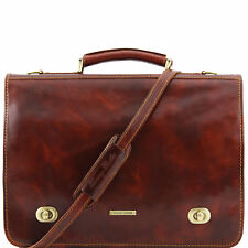 TUSCANY LEATHER business briefcase for work two compartments made in Italy