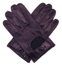 Merola Men's Driving Gloves Perforated Leather Dark Blue