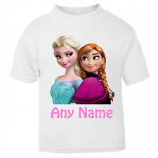 Personalised Frozen t-shirt Boys Girls Top Age Size Elsa Anna kids Party Gift