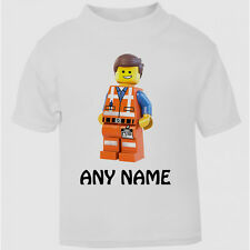 New Personalised Lego Movie T-Shirt Boys Girls Top Age Size Emmet gift kids cute