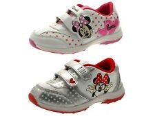 Girls Disney Minnie Mouse Velcro Trainers Pumps Childrens Shoes Size UK 10 - 2.5