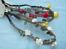 Flower hair bandeaux 23cm headband brown suede elastic band floral hairband