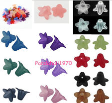 50pcs Transparent Acrylic Beads Frosted Flower Jewelry DIY Craft Handmade