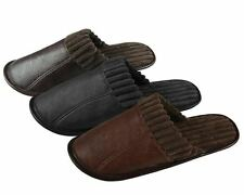 New Mens PU Faux  fur textile Super soft Comfy  Mule Slip on Slippers. size 6-11