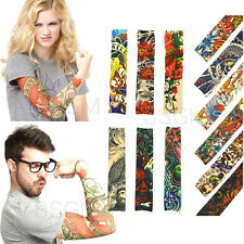Tattoo Sleeves Fake Stretchy Arm Dress Costume Party Men Women Snake Tiger Fish