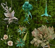 All Artificial Christmas Flowers in One  - Glitered, Beaded, on Pick or Clip On