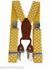 """Boys Yellow / White Polka Dots 1"""" Wide Suspenders  Fits Ages 2 - 5 Years 3T 4T"""