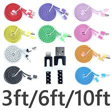Braided FLAT 8 pin to USB Data Sync Charger Cable for iphone 5 5s 5c 6 plus Lot