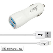 X5 Mobile 2.1A Dual USB Car Charger + Apple Certified MFI Lightning Cable & Sync