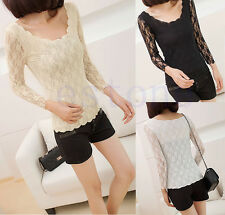 Fashion Sexy Women Long Sleeve Lace Wavy Bottoming T-Shirt Blouse Shirt Tops New