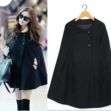 Womens Cape Black Batwing Wool Poncho Jacket Lady Winter Warm Cloak Coat