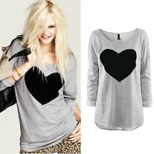 Fashion Women Love Heart Printed Round Neck Long Sleeve T-shirt Tops Shirt Tees