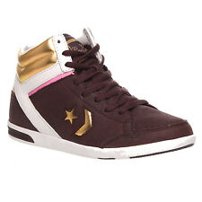 WOMENS LADIES CONVERSE LEATHER HI TOP BROWN TRAINERS GOLD SNEAKERS SHOES SIZE