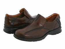 $90 NEW! MENS CLARKS ESCALADE BROWN LEATHER SLIP ON LOAFERS 70846 SHOES SIZE