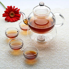 Chinese Gongfu Glass Teapot set with warmer  + double wall tea cup Kitchware