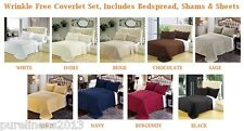 7PC Wrinkle Free Coverlet Set, Includes Bedspread, Shams & Sheets, Queen Size
