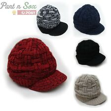 Mens Fashion Knitted Beanies Hats Winter Ladies Unisex Baggy Beret Cap Hat Black