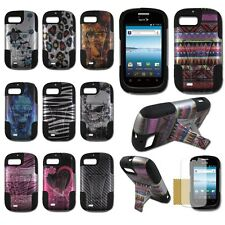 ZTE Fury N850 Valet Z665C Director Hybrid Plastic Silicone Cover Case T-Stand D1