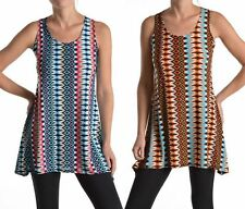 Women Multi Colors Striped Sleeveless Camisole Long Tunic Shirt Tank Top Blouse