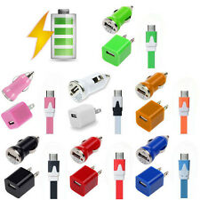 Wall Car Charger Micro USB Flat Sync Cable For SAMSUNG GALAXY Note S4 S3 Mini S2