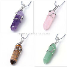 Natural Quartz Chakra Gem Bead Stone Healing Point Charm Pendant For Necklace