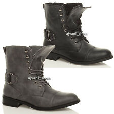 GIRLS KIDS CHILDRENS MILITARY ARMY COMBAT LACE UP ZIP ANKLE BOOTS SIZE