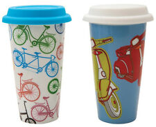 Eco Cup Bikes or Scooter Print Ceramic Coffee Takeaway Travel Mug