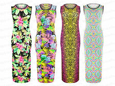 Ladies New Tropical Floral Aztec Slit Sleeveless Bodycon Maxi Full Length Dress