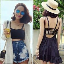 Sexy Women Bustier Crop Bra Tube Tops Cami Sleeveless Blouse Vest Cut Out Shirt
