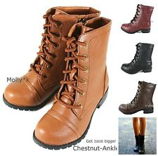Womens Ankle Military Combat Buckle Boots Lace Up Cowboy Fashion Shoes Size 6-11