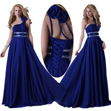 CHEAP SALE One Shoulder Prom Evening Dress Blue Long Maxi Ball Gown Full Dresses