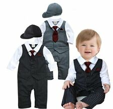 Baby Boy Wedding Formal Dressy Tuxedo Suit Striped Romper Outfit+HAT Set 3-24M