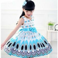 Hot Peacock Flower Girl Tutu Dress Bow Belt Party Wedding Birthday Skirt 5 Sizes