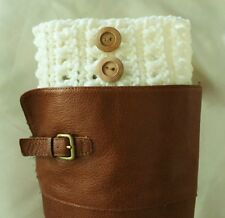 Handmade Crochet Cream Boot Cuffs Boot Toppers Leg Warmers S,M & L