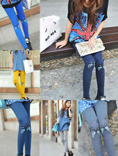 2014 Fashion Girls Embroidery Cute Cat Leggings Stretch Tights Pants 6 Colors