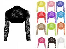 NEW WOMENS GIRLS  LACE LONG SLEEVE BOLERO SHRUG CROP NET CARDIGAN TOP 8 10 12