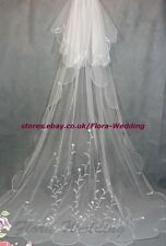 "2 tiers 95 ""L Chapelle / cathédrale long trailing bridal wedding veil, conception de broderie"
