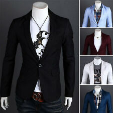 Men's Fashion One Button Slim Fit Casual Business Suit Dress Blazer Coat Jacket