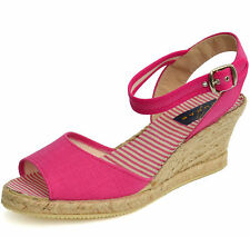 Womens Lunar pink canvas wedges ankle cuffs straps sandals stripy insole UK5 & 7