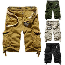 Men's Casual Cotton Hobo Relaxed Fit Army Cargo Shorts Summer Cool Pants No Belt