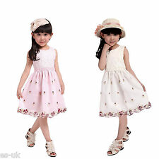 Girls Lace & Organza Flower Embroidered Dress; Age- 3-8; Knee Length; Sleeveless