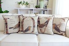 Vintage Country Floral Birds LOVE Cotton Linen Throw Pillow Case Cushion Covers