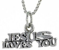 Sterling Silver JESUS FOUND YOU Word Pendant,Charm,18 inch Box Chain#TPO69